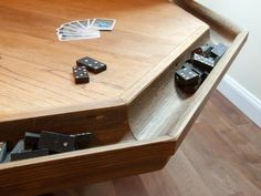 Game Room - game table incorporates an antique oak table & the home's original gutters fashioned into channels to hold the chips. Board Game Storage, Board Games, Basement Inspiration, Game Room Decor, Game Rooms, Flat Panel Tv, Oak Dining Table, Diy Network, Room Pictures