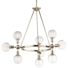 "Finish: Polished Nickel  Chain Length: 36""  Overall Height: 60""    Mid-Century design literally gets a twist with this 9 light chandelier from the Garim™ Collection. Clean Polished Nickel lines join a sleek metal band that house the Clear glass globes that bring the real excitement. Each cluster of lights can be rotated to create a new look and add just the right amount of glamour."