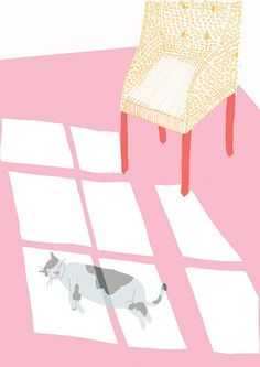 'Sunshine' by Fiona Dunphy - (cat sitting in the sun, chair, sleeping, floor, ground, window, sun bathing, simple, vector) -