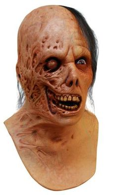 MENS EVIL DEAD BURNT ZOMBIE SCARY ADULT LATEX MASK NECK & CHEST NEW HALLOWEEN