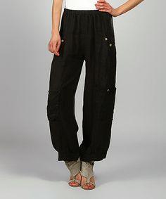 Look at this #zulilyfind! 100% LIN BLANC Black Kelya Linen Cargo Pants by 100% LIN BLANC #zulilyfinds