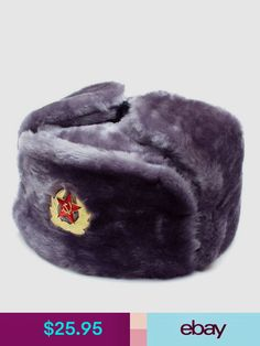 6d61ef6d7face Hats Authentic Russian Ushanka Gray Military Hat W  Soviet Red Army Badge