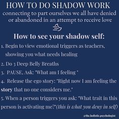 Recovery from abuse with shadow work Mental And Emotional Health, Emotional Healing, Self Healing, Chakras, Inner Child Healing, Work Quotes, Coping Skills, Emotional Intelligence, Spiritual Awakening