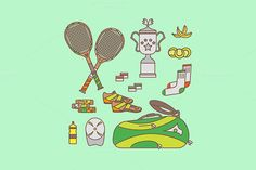 Tennis equipment set by MarioMovement on Creative Market