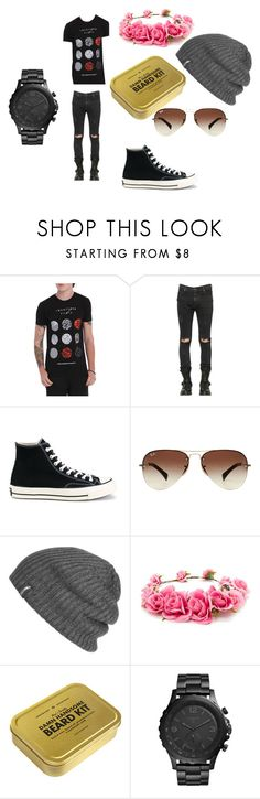 """Michael Macie J"" by maggiie-lewis ❤ liked on Polyvore featuring Hot Topic, RtA, Converse, Ray-Ban, Outdoor Research, Forever 21, Men's Society, FOSSIL, men's fashion and menswear"