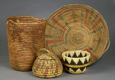 HOPI COILED BASKETS AND MESCALERO APACHE BASKETS,  (EST $300 - $500)  Auction: 2002 American Indian Decorative Arts. September 27  American Indian Art > .Southwest > Basketry