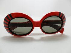 Vintage Jackie O Italy Sunglasses Red Round Black Stripes Mod Retro Chunky 1960s | eBay
