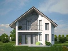 pohled domu Pavla 10A Modern Villa Design, Classic House Design, House Front Design, Dream Home Design, Home Design Plans, Home Building Design, Building A House, Narrow House Plans, Victorian House Plans