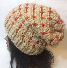 brand new 4e8c6 539bd Light brown and orange crocheted slouchy hat unisex adult Crochet Slouchy  Hat, Crochet Cap,