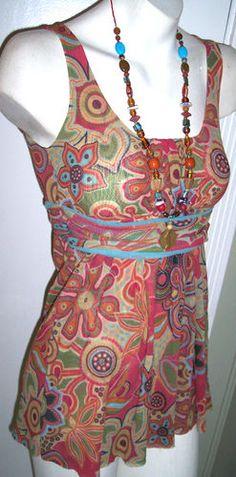Daisy & Clover Top S Wearable Art Mod Floral Nylon Mesh Layered Empire Babydoll