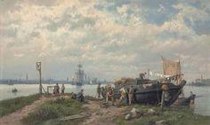 Hermanus Koekkoek - Vissersvolk met Amsterdam op de achtergrond