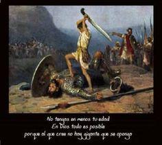 1 SAM 17 no hubo una espada en la mano de David. Entonces corrió david y se puso sobre el filisteo, y tomó su espada, y sacó de la vaina de mentira, y lo mató y le cortó con ella la cabeza. Y cuando los filisteos vieron a su paladín muerto, huyeron.