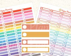 """*PRINTABLE IS FOR DOWNLOAD ONLY / NO ITEM WILL BE SHIPPED!  Bright Color Planner Stickers.  This stickers are sized to fit in weekly boxes in the Erin Condren, but you can use them for any planner you wish!  As soon as you payment is confirmed, the download link will be sent to your registered e-mail address. With this purchase you will receive: 1 PDF (2 Sheets) Each page is 8.5""""x 11"""" Stickers are of size 1.5"""" x 0.3"""" You will need a PDF reader (download one for free on the official site..."""