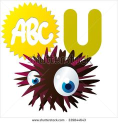 Vector comic funny cartoon animals alphabet:U  is for Urchin