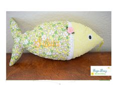 "Personalized 14"" Plush Fish Toy, stuffed fish, nautical nursery toy,Aquatic toy,nautical pillow,Coastal Decor,Nautical decor nursery by GogoBeezEmbroidery on Etsy"