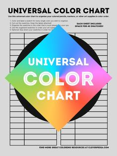 Cleverpedia's free universal color chart can be used to put colored pencils, gel pens, markers, and other art supplies in color order!