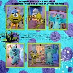 Disney' Scrapbooking Layouts | Disney Monster Inc scrapbook Layout | Scrapbooking