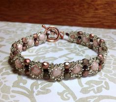 Czech Glass Beaded Bracelet Pink Brown and by JewelryCharmers, $32.00