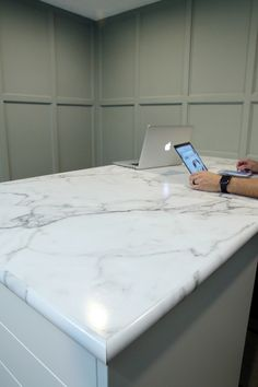 Our Calacatta Marble countertop by Formica in the Home Office-Yeah, That's Laminate! - Chris Loves Julia