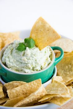 Made with Cottage Cheese, this Creamy Cilantro Guacamole is lower in calories and higher in protein!
