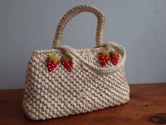 Vintage Raffia Handbag with Velvet Beaded by Scatterbugs on Etsy