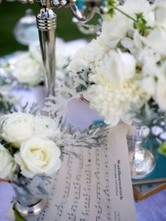 music notes, old books adorn the tables