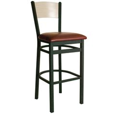 Dale Black Metal Solid Wood Back Restaurant Bar Stools with Padded Seat - Attractive and comfortable Dale black metal restaurant bar stools with padded seat from BFM Seating are built to last with sturdy, sand black metal frames, solid wood backs and padded seats. These modern commercial bar stools feature multiple solid wood commercial bar stool back finishes and vinyl seat colors for a streamlined look to meet your facility's commercial restaurant & bar stool furniture needs.  [2150B-SBV]