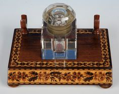 A fine rectangular inkstand with floral and geometric mosaic. Fitted with a glass inkwell. England c. 1880. Offered by Amherst Antiques at The Edenbridge Galleries, Kent. www.edenbridgegalleries.com