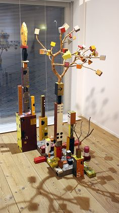 "Kari Södö, ""Wishful Thinking"", mixed media on wood, 2015 Wishful Thinking, Grandchildren, Art Projects, Mixed Media, Sculptures, Candles, Wood, Woodwind Instrument, Timber Wood"