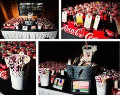 Coke wedding favor table