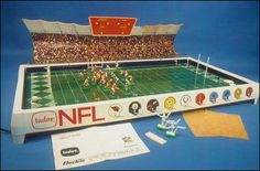 I remember this game, too. I don't remember whether I ever had one, but I played it with friends. It vibrated, and the little men tried to run down the field, one of them with a little paper football.