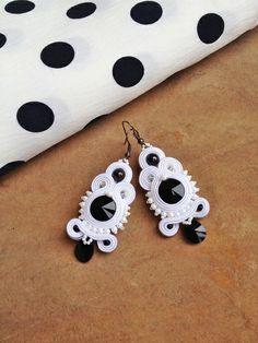 "B&W ""something black"" earrings galeriamagia.blogspot.com Textiles, Soutache Jewelry, Black Earrings, Silk Ribbon, Shibori, Crochet Earrings, Bridal, Inspiration, Etsy"
