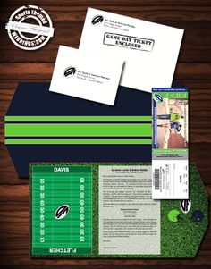 Deluxe Package Seattle Seahawks inspired Wedding Invitation with trifold, perforated ticket and envelopes.  #footballwedding  #stwdotcom