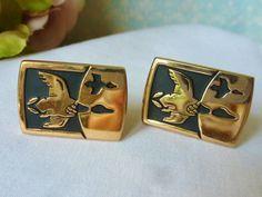 Vintage Cufflinks Ducks / Geese Cuff Links Gold by vintagelady7