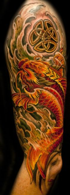 Half sleeve colour Dragon Koi Fish tattoo