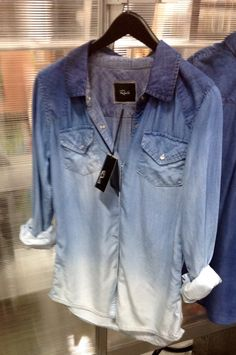 ombre denim button down