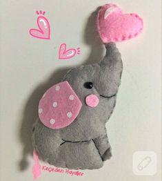 Keçe fil bebek şekeri - felt elephant craft sewing fieltro