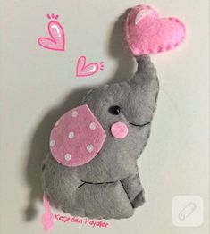 Keçe fil bebek şekeri - felt elephant craft sewing fieltro