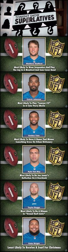 Jimmy Fallon, Tonight Show superlatives - Detroit Lions