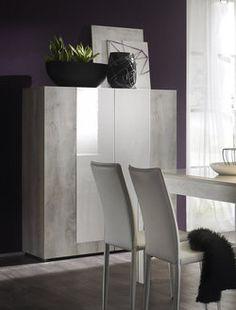 Argentier / Bar contemporain MARJOLENE, 2 portes, coloris Pin Blanc & Blanc laqué
