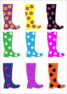 pluie - rainy day - clipart bottes de pluie multicolores