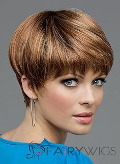 Custom Super Charming Short Straight Brown 8 Inch Indian Remy Hair Wigs