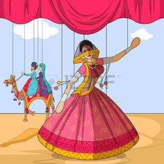 Illustration of Vector design of colorful Rajasthani Puppet doing Ghoomar folk dance of Rajasthan, India vector art, clipart and stock vectors. Rajasthani Painting, Rajasthani Art, Hand Embroidery Patterns Flowers, Hand Work Embroidery, Fashion Illustration Sketches, Nature Illustration, Cute Easy Doodles, Creative Wall Painting, Composition Painting