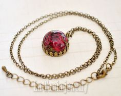 Real Rose Necklace - Real Flower Necklace, Resin flower Pendant, Dried Flower…
