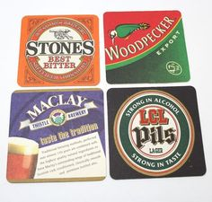 Coasters Lot Of 4 Beer Assorted Brewmania Square Stones Woodpecker Collectable Beer Coasters, Coaster Set, Brewery, Alcohol, Stone, Ebay, Rubbing Alcohol, Rock, Liquor