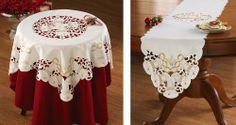 """White Bells & Golden Embroidery Table Linens White Square By Collections Etc by Collections. $7.97. Use these elegant table linens to dress up holiday tables with or without a tablecloth (not included) underneath. In your choice of table runner or square, each piece is fashioned in off-white polyester with cut-out scroll work and gold bell embroidery detail. Machine wash. Imported. Each sold separately. Table Square - 34""""sq. Table Runner 68""""L x 12-1/2""""W."""