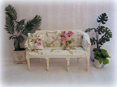 Dollhouse miniature Shabby Chic Sofa by MiniAbuela on Etsy,