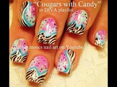 Cougars with Candy Nail Art - YouTube
