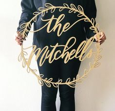 20 inch or 24 inch Custom Name Laser Cut Wreath Wedding Name