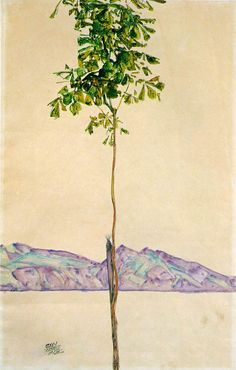 Egon Schiele - Little Tree (Chestnut Tree at Lake Constance), 1912. Watercolour and pencil on paper